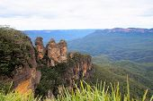 stock photo of three sisters  - The magnificent three sisters rock formation in the Blue mountains in New south wales - JPG