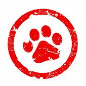 foto of paw-print  - Red paw print inside circle frame grunge clipart isolated on white background - JPG