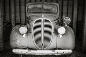 picture of truck farm  - Old vintage truck forgotten in time black and white - JPG
