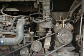 stock photo of motor-bus  - Detail of a big bus engine - JPG