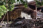 image of wooden shack  - a wooden shack on stilts in the thai countryside - JPG