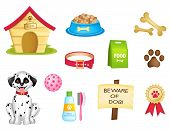 stock photo of spotted dog  - Dog and dogs stuff colorful clipart isolated on white background - JPG