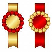 pic of rosette  - Elegant blank award ribbon rosettes in shiny red  - JPG