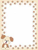 foto of dog tracks  - Brown color dog paw print border  - JPG
