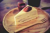 picture of crepes  - Crepes Strawberry Cake Shop eat with your coffee to taste delicious - JPG