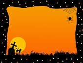 pic of empty tomb  - Illustration of a orange and black Halloween frame with spider graves and a cat - JPG