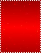 image of snow border  - Elegant red frame with candy cane border and falling snow - JPG