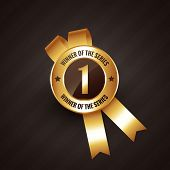 picture of rosette  - winner number one vector badge rosette label design - JPG