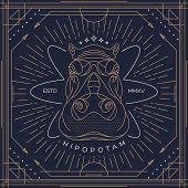 picture of hippopotamus  - Vintage thin line hippopotamus label - JPG