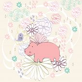 pic of hippopotamus  - Stylish floral background with cartoon hippopotamus and  bird in light colors - JPG