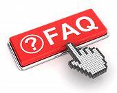 picture of faq  - Hand cursor clicking a FAQ button - JPG