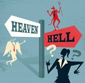 image of morals  - Great illustration of Retro styled Businesswoman at a Heaven and Hell Signpost with both and Angel and a Devil to help make a difficult moral dilemma - JPG