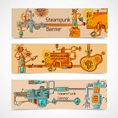 stock photo of steampunk  - Steampunk horizontal banner set with engineer robotic machinery elements isolated vector illustration - JPG