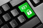 image of vpn  - grey keyboard green enter button key lock symbol access - JPG