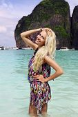 pic of phi phi  - fashion outdoor photo of beautiful sexy woman with blond hair posing at beach of Phi Phi island - JPG