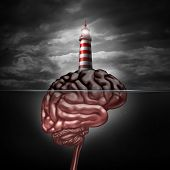 stock photo of lighthouse  - Thinking and education direction concept and training and development symbol as a lighthouse icon on an island shaped as a human brain as a metaphor for business learning or professional psychiatric or psychological assistance and support - JPG