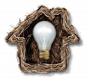 picture of bird-nest  - Home ideas and house solution symbol as a bird nest shaped as a family residence as a metaphor for real estate thinking or residential architecture icon - JPG
