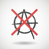 pic of anarchists  - Illustration of a not allowed icon with an anarchy sign - JPG