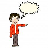 picture of terrifying  - cartoon terrified man pointing with speech bubble - JPG