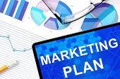 stock photo of marketing plan  - Tablet with marketing plan - JPG