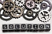 picture of solution  - Solution concept Solution word with cog wheels on metal background - JPG