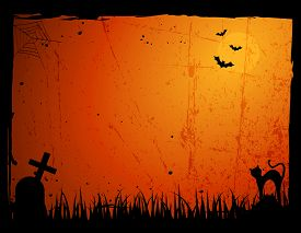 stock photo of empty tomb  - Grunge hallowwen frame  - JPG