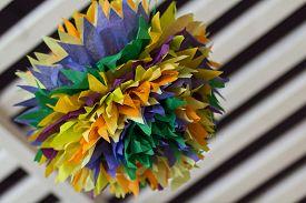 foto of pom poms  - Colorful tissue paper pom poms in home design - JPG