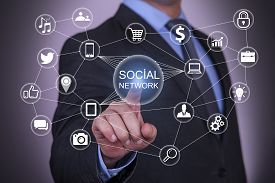 pic of network  - Social Network on Touch Screen communication global communication computer network - JPG