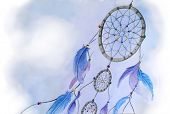 Watercolor dream catcher illustration poster