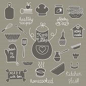 Постер, плакат: Hand drawn kitchen tools set Kitchen utensils isolated Kitchen equipment collection Kitchen doodles