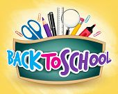 3D Realistic Back to School Title Poster Design in a Blackboard poster