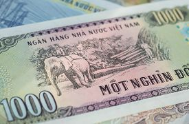picture of dong  - Banknote in one thousand Vietnamese dong close up - JPG