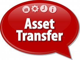 picture of asset  - Speech bubble dialog illustration of business term saying Asset Transfer - JPG