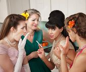 Women Gossiping In Kitchen