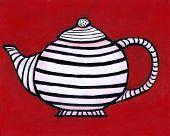 Black And White Striped Teapot