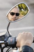 Punk In Motorcycle Rearview Mirror