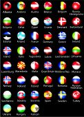 European States Oficial Flags Glossy Buttons Black.Eps