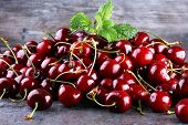 Cherry Basket / Sweet Cherry Background/ Cherry With Leaf poster