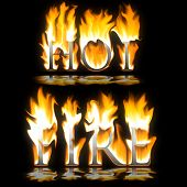 Text Hot & Fire Blazing On Black Background