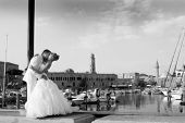 couple groom and the bride in fishing to port