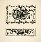 Ornaments Italiens. Panno, style Louis Seize. Engraving of 18 century.