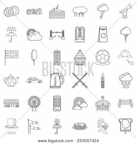 England Icons Set Outline Style