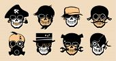 Cartoon freak icons in steampunk style.