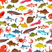 Seafood And Fish Seamless Cartoon Pattern. Vector Ocean And River Fishes Flounder, Tuna Or Carp And  poster