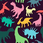 Trendy Collection With Colorful Dinosaurs Pattern Kids. Creative Childish Seamless Texture. Cute Mon poster