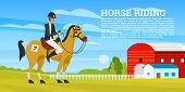 Horseback Riding Poster Or Banner. Racing Icons For Activity Jockey Club. Equipments For Equestrian  poster