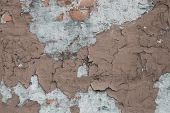 Old Wall With Cracks And Plaster. Concrete Wall Brown Ruined Wall. Grunge Texture. Cracks In The Stu poster