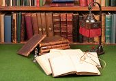 Antique Books, Lamp And Glasses