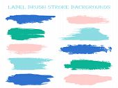 Cool Label Brush Stroke Backgrounds, Paint Or Ink Smudges Vector For Tags And Stamps Design. Painted poster