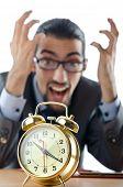 Concept with businessman missing deadline